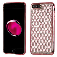 Desire Bling Bling Diamond Electroplated TPU Case for iPhone 8 Plus / 7 Plus - Rhombus Rose Gold