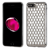 Desire Bling Bling Diamond Electroplated TPU Case for iPhone 8 Plus / 7 Plus - Rhombus Silver