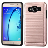 Brushed Multi-Layer Hybrid Armor Case for Samsung Galaxy On5 - Rose Gold