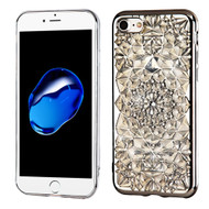 Desire Bling Bling Diamond Electroplated Transparent Case for iPhone 8 / 7 - Sunflower Chrome