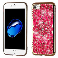 Desire Bling Bling Diamond Electroplated Transparent Case for iPhone 8 / 7 - Sunflower Hot Pink