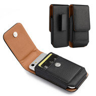 Premium Vertical Leather Pouch Case - Black
