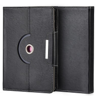 Universal Rotating Leather Portfolio Kickstand Case - Black