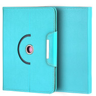 Universal Rotating Leather Portfolio Kickstand Case - Blue