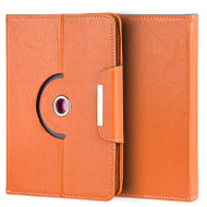 Universal Rotating Leather Portfolio Kickstand Case - Orange