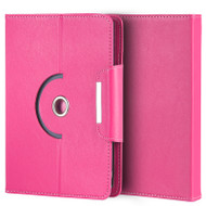 Universal Rotating Leather Portfolio Kickstand Case - Hot Pink