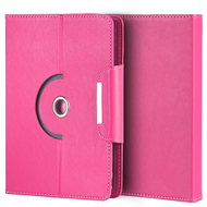 Universal Rotating Leather Portfolio Kickstand Case - Hot Pink