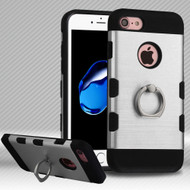 Military Grade Certified TUFF Trooper Dual Layer Hybrid Armor Case with Ring Holder for iPhone 8 / 7 - Brushed Silver