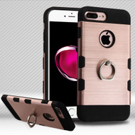 Military Grade TUFF Trooper Dual Layer Hybrid Armor Case with Ring Holder for iPhone 8 Plus / 7 Plus - Brushed Rose Gold