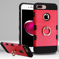 Military Grade TUFF Trooper Dual Layer Hybrid Armor Case with Ring Holder for iPhone 8 Plus / 7 Plus - Brushed Red