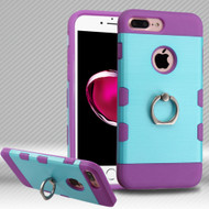 Military Grade TUFF Trooper Dual Layer Hybrid Armor Case with Ring Holder for iPhone 8 Plus / 7 Plus - Baby Blue Purple