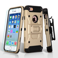 *SALE* 3-IN-1 Kinetic Hybrid Armor Case with Holster and Tempered Glass Screen Protector for iPhone 6 / 6S - Gold