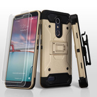 *SALE* 3-IN-1 Kinetic Hybrid Armor Case with Holster for ZTE Zmax Pro / Grand X Max 2 / Imperial Max / Max Duo 4G - Gold