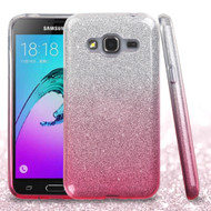 Full Glitter Hybrid Protective Case for Samsung Galaxy Amp Prime / Express Prime / J3 / Sol - Gradient Pink