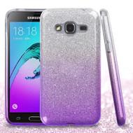 Full Glitter Hybrid Protective Case for Samsung Galaxy Amp Prime / Express Prime / J3 / Sol - Gradient Purple