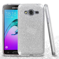 Full Glitter Hybrid Protective Case for Samsung Galaxy Amp Prime / Express Prime / J3 / Sol - Silver