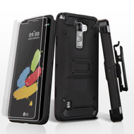 *SALE* 3-IN-1 Kinetic Hybrid Armor Case with Holster and Screen Protector for LG G Stylo 2 / Stylus 2 - Black