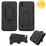 Robust Armor Stand Protector Cover with Holster for LG Tribute HD / X Style - Black