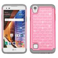 TotalDefense Diamond Hybrid Case for LG Tribute HD / X Style - Pearl Pink Grey