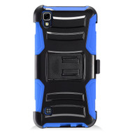 Advanced Armor Hybrid Kickstand Case with Holster for LG Tribute HD / X Style - Black Blue