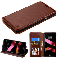 Book-Style Leather Folio Case for LG Tribute HD / X Style - Brown