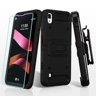 3-IN-1 Kinetic Hybrid Armor Case with Holster and Tempered Glass Screen Protector for LG Tribute HD / X Style - Black