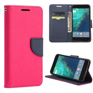 Leather Wallet Shell Case for Google Pixel - Hot Pink