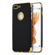 Jet Black Skyfall TPU Case with Electroplated Color Edge for iPhone 7 Plus - Gold