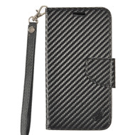 *Sale* Leather Wallet Shell Case for LG Tribute HD / X Style - Carbon Fiber