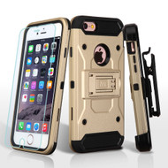 3-IN-1 Kinetic Hybrid Armor Case with Holster and Tempered Glass Screen Protector for iPhone 6 Plus / 6S Plus - Gold