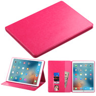 Book-Style Leather Folio Case for iPad Pro 12.9 inch - Hot Pink