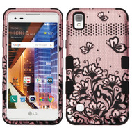 *Sale* Military Grade TUFF Image Hybrid Armor Case for LG Tribute HD / X Style - Lace Flowers Rose Gold