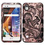 Military Grade TUFF Image Hybrid Armor Case for LG Tribute HD / X Style - Phoenix Flower Rose Gold