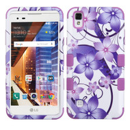 Military Grade Certified TUFF Image Hybrid Armor Case for LG Tribute HD / X Style - Purple Hibiscus Flower Romance