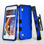 Military Grade Certified TUFF Hybrid Armor Case with Holster for LG Tribute HD / X Style - Blue