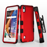 Military Grade TUFF Hybrid Armor Case with Holster for LG Tribute HD / X Style - Red