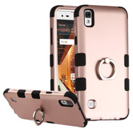Military Grade TUFF Hybrid Armor Case with Ring Holder for LG Tribute HD / X Style - Rose Gold