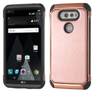 Electroplated Tough Anti-Shock Hybrid Case with Leather Backing for LG V20 - Rose Gold