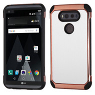 Electroplated Tough Anti-Shock Hybrid Case with Leather Backing for LG V20 - White