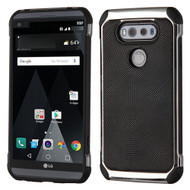 Chrome Tough Anti-Shock Hybrid Case with Leather Backing for LG V20 - Black