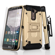 3-IN-1 Kinetic Hybrid Armor Case with Holster and Screen Protector for LG Stylo 2 Plus - Gold