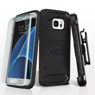 3-IN-1 Kinetic Hybrid Armor Case with Holster and Screen Protector for Samsung Galaxy S7 Edge - Black
