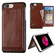 Pocket Wallet Case with Stand for iPhone 8 Plus / 7 Plus - Brown