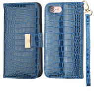 Crocodile Embossed Leather Wallet Case for iPhone 8 / 7 - Blue