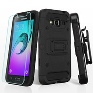 Kinetic Holster Case and Tempered Glass Screen Protector for Samsung Galaxy Amp Prime / Express Prime / J3 / Sol - Black
