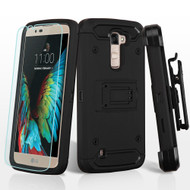 3-IN-1 Kinetic Hybrid Armor Case with Holster and Screen Protector for LG K10 / Premier LTE - Black