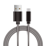 Type-C Charge and Sync USB 3.1 Cable with Interlocking Armor - Black