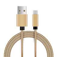 Type-C Charge and Sync USB 3.1 Cable with Interlocking Armor - Gold
