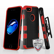 *Sale* Military Grade TUFF Merge Hybrid Armor Case with Holster for iPhone 8 / 7 - Black Red
