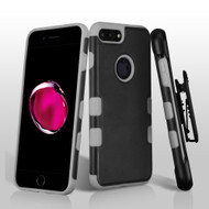 Military Grade TUFF Merge Hybrid Armor Case with Holster for iPhone 8 Plus / 7 Plus - Black Grey